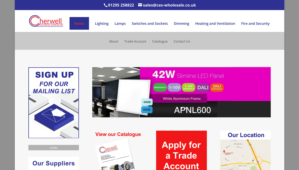 Cherwell Electrical Supplies Website Design